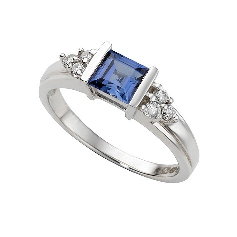 9ct white gold created sapphire and diamond ring