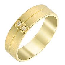 Men's 9ct Yellow Gold & Diamond 6mm Matt Finish Wedding Ring - Product number 3537846