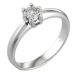 9ct White Gold 1/10 Carat Diamond Solitaire Ring