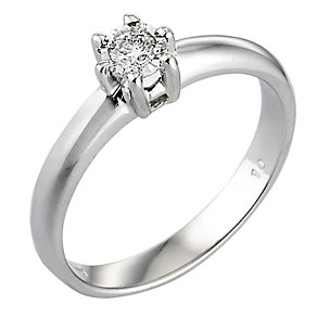 9ct White Gold 1/10 Carat Diamond Solitaire Ring - Product number 3538451