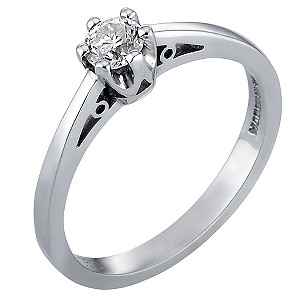 9ct White Gold Quarter Carat Diamond Solitaire Ring