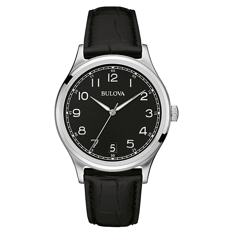 Bulova men's stainless steel black leather strap watch - Product number 3542297