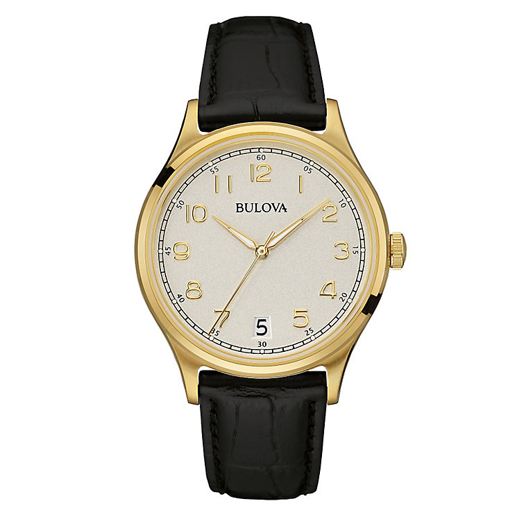 Bulova men's gold-plated leather strap watch - Product number 3542300
