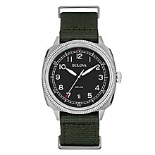 Bulova Military men's stainless steel black strap watch - Product number 3542467