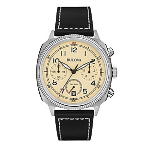 Bulova military men's stainless steel black strap watch - Product number 3542548