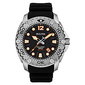 Bulova Sea King men's stainless steel black strap watch - Product number 3542572