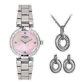 Rotary Ladies' Steel Bracelet Watch, Pendant & Earrings Set - Product number 3542734