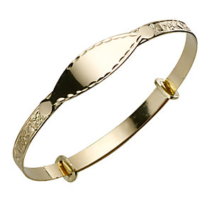 Child's 9ct Gold Heart and Flower Expander Bangle - Product number 3543935
