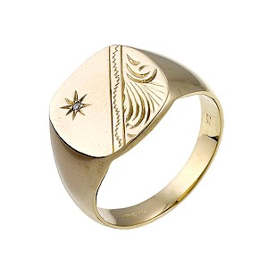 9ct Yellow Gold Engraved Pattern Ring