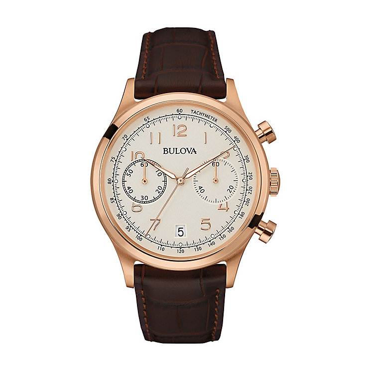 Bulova Men's Cream Dial Brown Leather Strap Watch - Product number 3546829