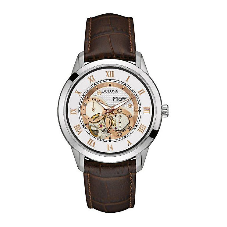 Bulova Men's Silver Dial Brown Leather Strap Watch - Product number 3547248