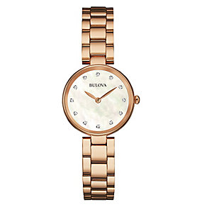 Bulova Ladies' Gold Plated Mother of Pearl & Diamond Watch - Product number 3547302