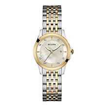 Bulova Ladies' Diamond Set Two Colour Bracelet Watch - Product number 3548058