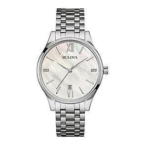 Bulova Ladies' Diamond Set Stainless Steel Bracelet Watch - Product number 3548066