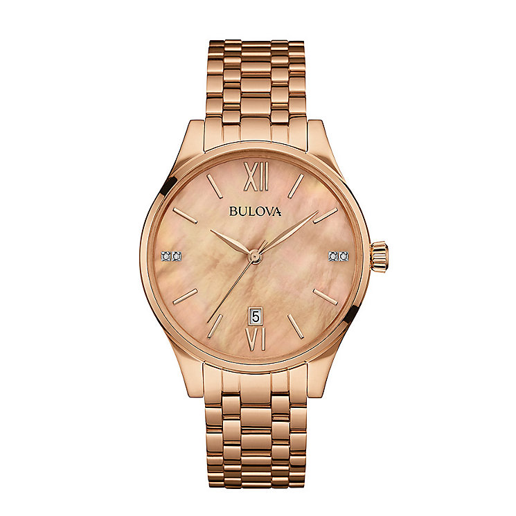Bulova Ladies' Diamond Set Rose Gold-Plated Bracelet Watch - Product number 3548120