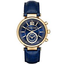 Michael Kors Sawyer Gold Tone Navy Leather Strap Watch - Product number 3558592