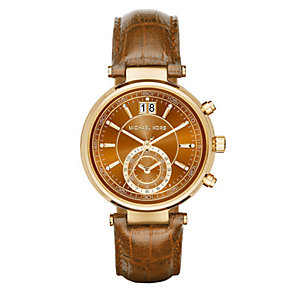 Michael Kors Sawyer ladies' gold-plated leather strap watch - Product number 3558606