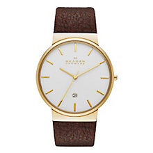 Skagen Men's The Ancher Brown Leather Strap Watch - Product number 3558703