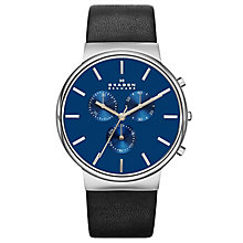 Skagen Men's Ancher Blue Dial & Black Leather Strap Watch - Product number 3558711