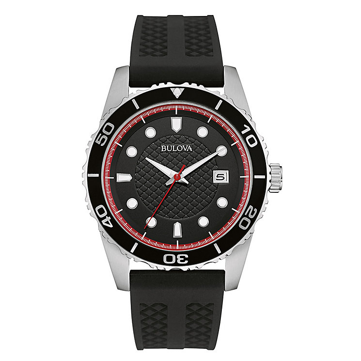 bulova watches h samuel bulova men s black dial black rubber strap watch product number 3562654