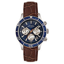 Rotary Men's Blue Dial Brown Leather Strap Watch - Product number 3562670
