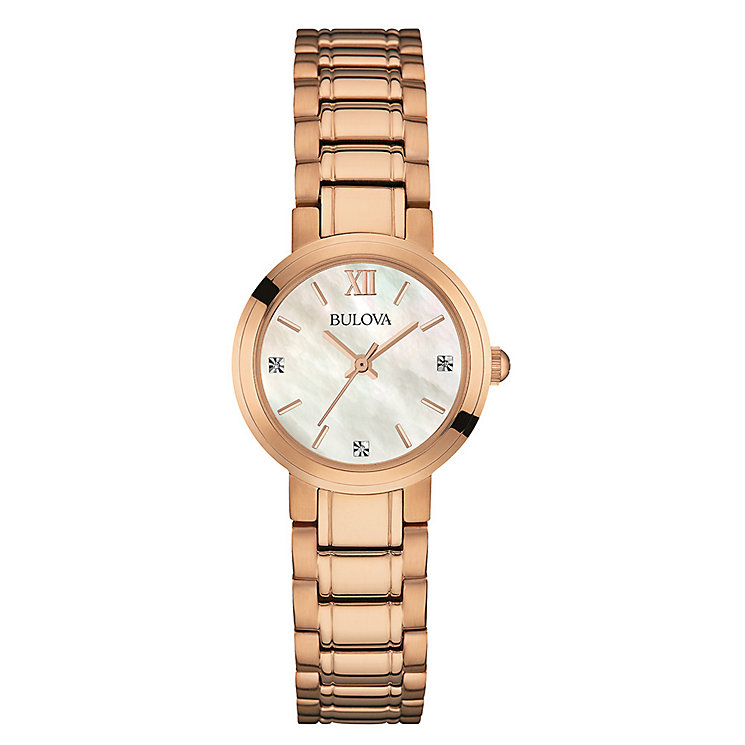 Bulova Ladies' Diamond Set Rose Gold-Plated Bracelet Watch - Product number 3562700