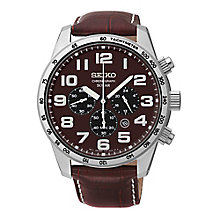 Seiko Solar Men's Chronograph Brown Leather Strap Watch - Product number 3562727