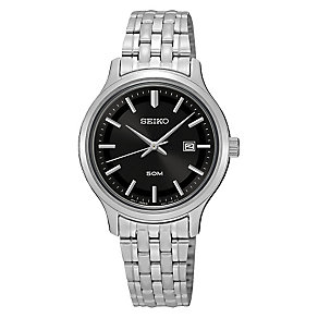Seiko Ladies' Black Dial Stainless Steel Bracelet Watch - Product number 3562816