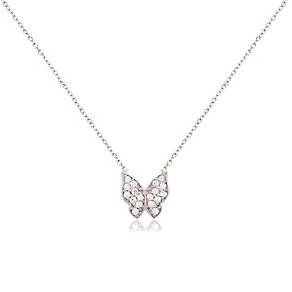 Sterling Silver & Cubic Zirconia Butterfly Pendant - Product number 3563383