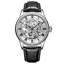 Men's Rotary Stainless Steel & Leather Skeleton Dial Watch - Product number 3565823