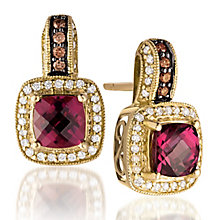 Le Vian 14ct Honey Gold diamond & rhodolite earrings - Product number 3565912