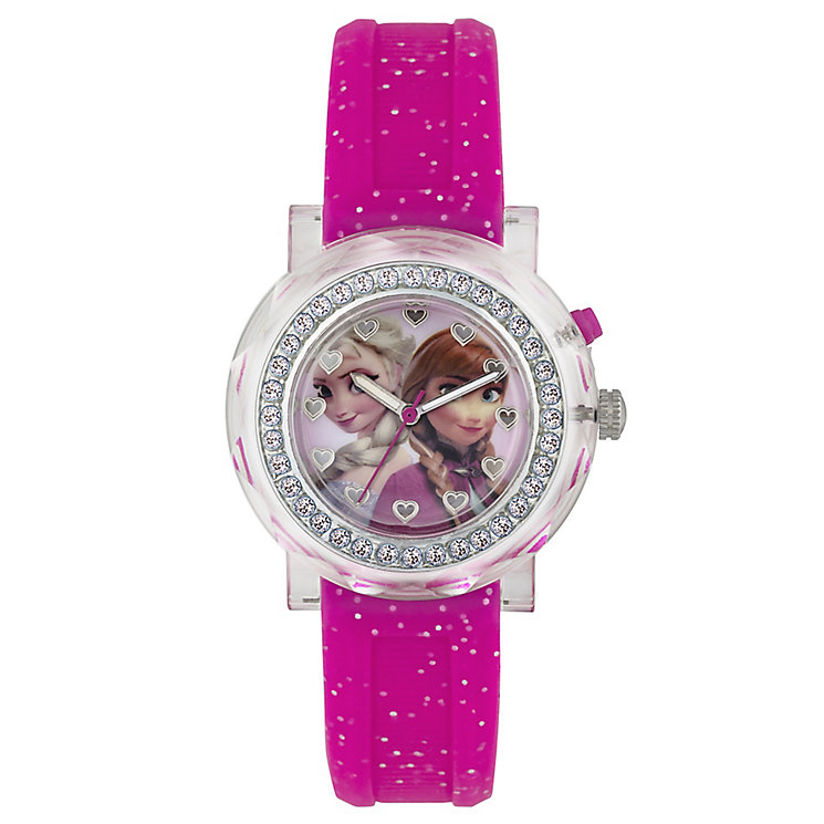 Children's Frozen Light-Up Dial Pink Rubber Strap Watch - Product number 3566048