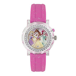 Children's Disney Princess Light-Up Pink Rubber Strap Watch - Product number 3566218
