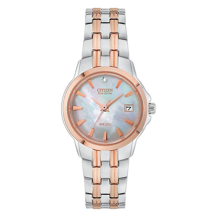 Citizen Eco-Drive Ladies' Diamond Two Colour Bracelet Watch - Product number 3567591