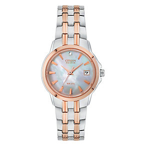 Citizen Eco-Drive Ladies' Diamond Two Colour Bracelet Watch - Product number 3567591