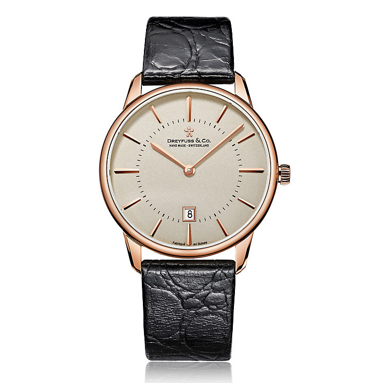 Dreyfuss & Co 1890 Men's Rose Gold Tone Strap Watch - Product number 3569527