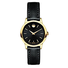 Movado 1881 ladies' gold-plated black leather strap watch - Product number 3572307