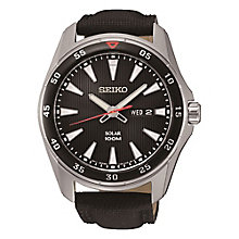 Seiko Solar Men's Black Dial Black Leather Strap Watch - Product number 3572528