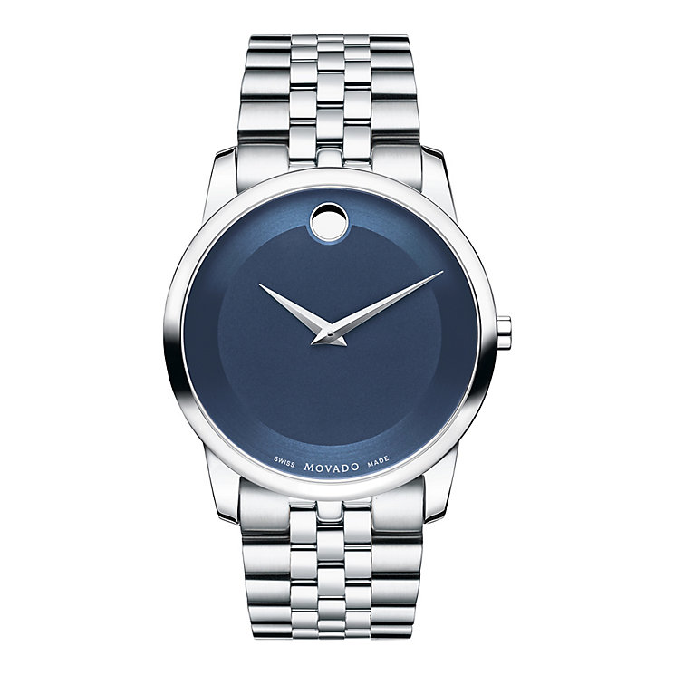 Movado Museum Men's Stainless Steel Blue Dial Bracelet Watch - Product number 3572927