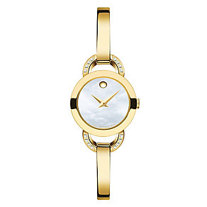 Movado ladies' gold-plated stone set bracelet watch - Product number 3572978
