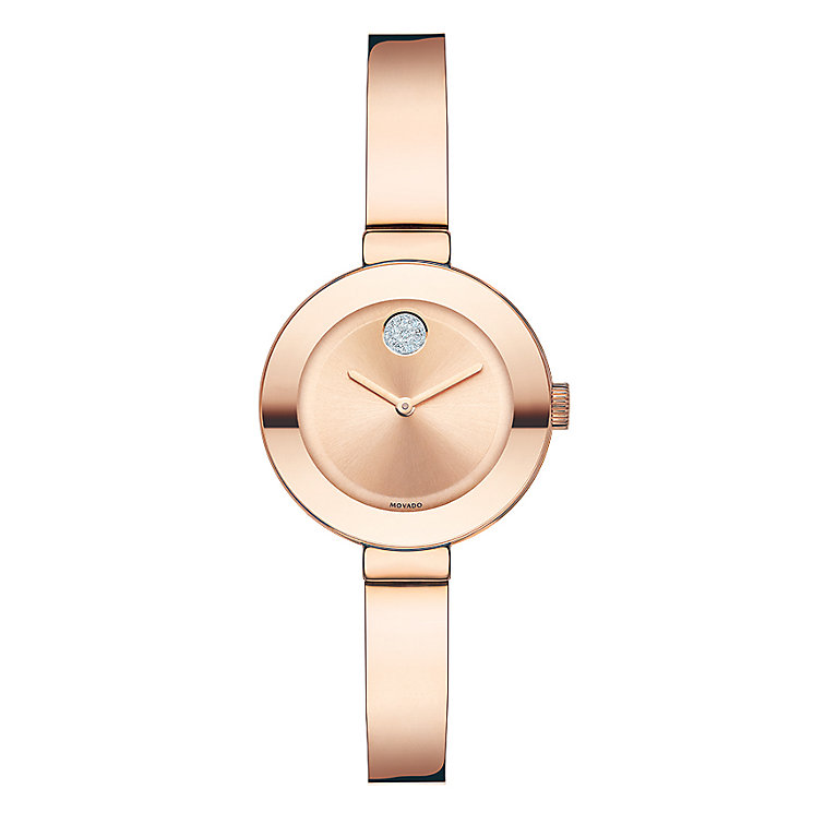Movado Bold ladies' rose gold-plated bangle bracelet watch - Product number 3573583