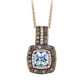 Le Vian 14ct Honey Gold diamond & Aquamarine pendant - Product number 3573850