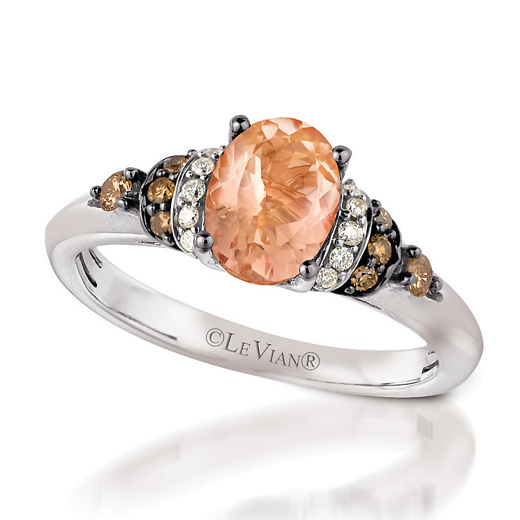Le Vian 14ct Vanilla Gold Peach Morganite & diamond ring - Product number 3576124