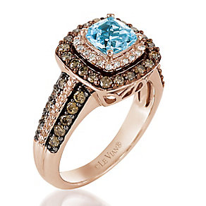 Le Vian 14ct Strawberry Gold diamond aquamarine Ring - Product number 3576981