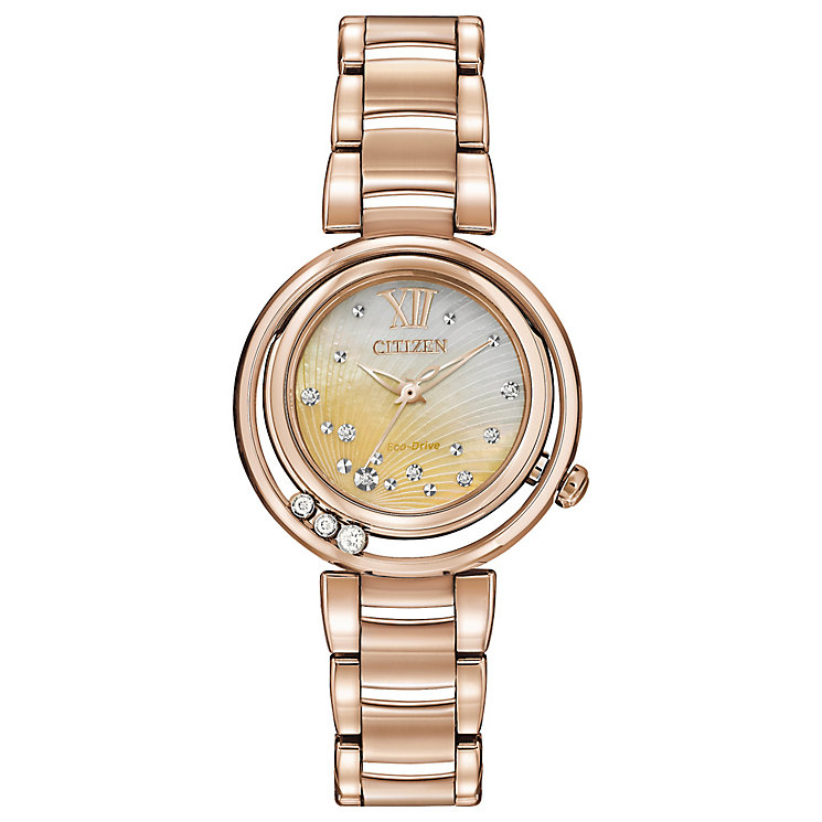 Citizen Eco-Drive Ladies' Rose Gold-Plated Bracelet Watch - Product number 3579425