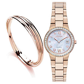 Citizen Ladies' Rose Gold-Tone Bracelet Watch & Bangle Set - Product number 3581845