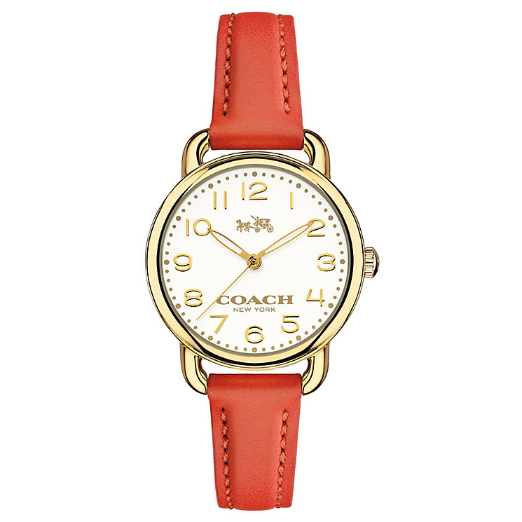 Coach ladies' gold-tone orange leather strap watch - Product number 3584453