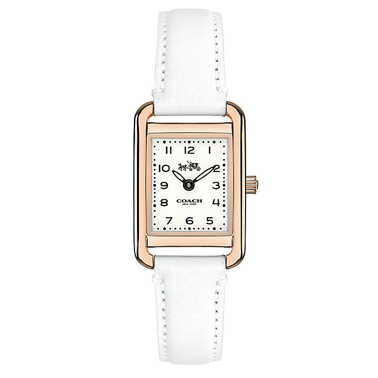 Coach ladies' rose gold tone white strap watch - Product number 3584577