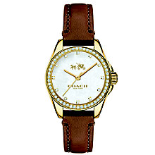 Coach ladies' gold-tone stone set strap watch - Product number 3584755