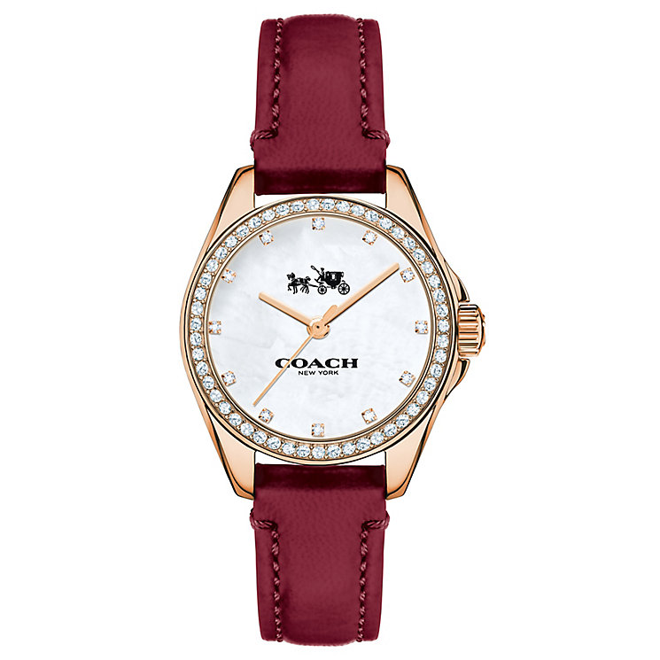 Coach ladies' rose gold-plated stone set leather strap watch - Product number 3584763